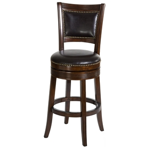 "Lockefield 30"" Wooden Bar Stool - Nail Heads, Espresso Frame"
