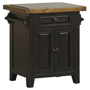 Tuscan Retreat™ Small Kitchen Island - Granite Top, Black & Oak