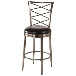 "Harlow 30"" Bar Stool - Black Seat, Pewter Frame"