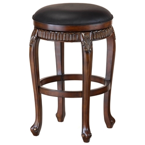 Fleur De Lis Backless Swivel Counter Stool in Black and Cherry