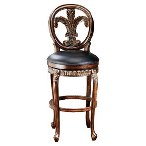 Fleur De Lis Counter Stool with Black Leather Seat