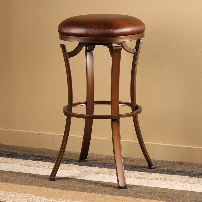"Kelford 26"" Backless Swivel Counter Stool In Antique"