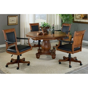 Kingston 5 Piece Game Set with Leather Chairs on Casters