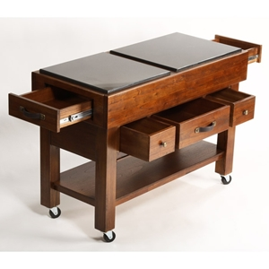 Outback 5-Drawer Kitchen Island on Casters