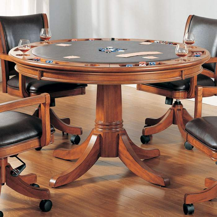 Parkview Round Game Dining Table In Medium Brown Oak Dcg
