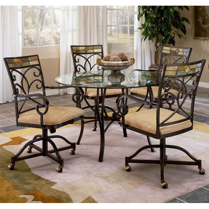 Pompei Glass Dining Table with Caster Chairs