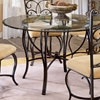 Pompei Round Glass Dining Table with Slate Accents - HILL-4442DTB