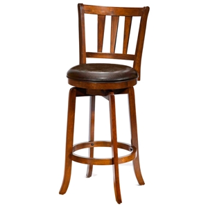 "Presque Isle 26"" Swivel Counter Stool - Cherry Finish, Brown Seat"