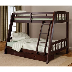 Rockdale Espresso Bunk Bed with Storage Drawers