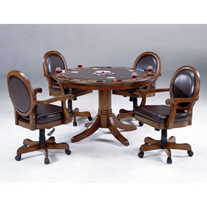 Warrington Round Game Table with 4 Leather Game Chairs