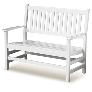 Plantation 49 Cottage Style Bench - Slatted, White Paint