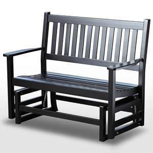 Plantation 49 Wood Porch Glider - Slatted, Black Paint