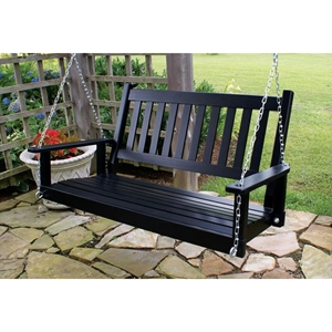 Plantation 50 Slatted Porch Swing - Black Paint