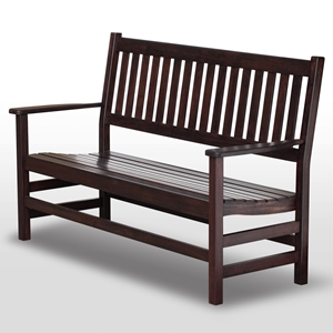 Plantation 61 Slatted Wood Bench - Mahogany Stain