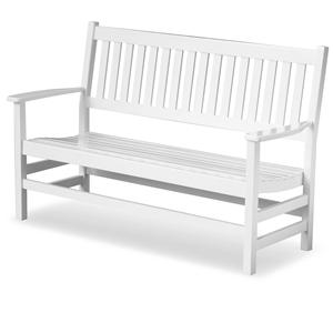 Plantation 61 Slatted Wood Bench - White Paint
