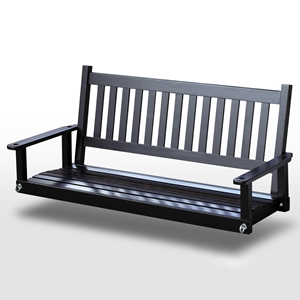 Plantation 58.5 Wood Porch Swing - Black Paint