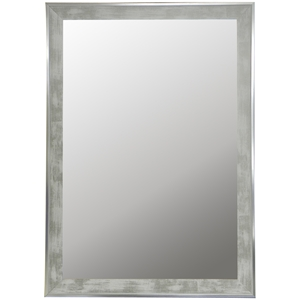 Asher Wall Mirror - White Wash Frame, Silver Trim, Made in USA