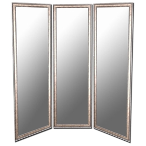 Revesby Mirrored Room Divider in Gold with Silver Trim - Made in USA