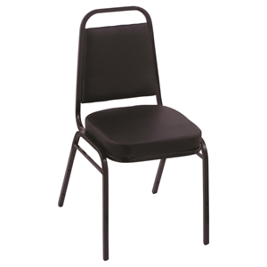"18"" Upholstered Stack Chair - Black"