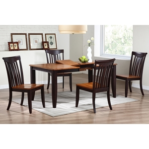 Avelina 5 Piece Extension Dining Set - Whiskey & Mocha Finish