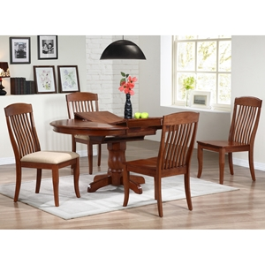 Cyrus 5 Piece Dining Set - Extending Table, Cinnamon Finish