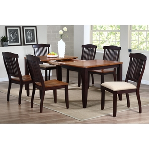 Niro 7 Piece Extension Dining Set - Slat Back Chairs, Mocha Finish