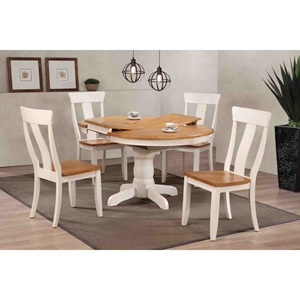 5 Pieces Round Dining Set - Panel Back, Wood Seat, Caramel and Biscotti