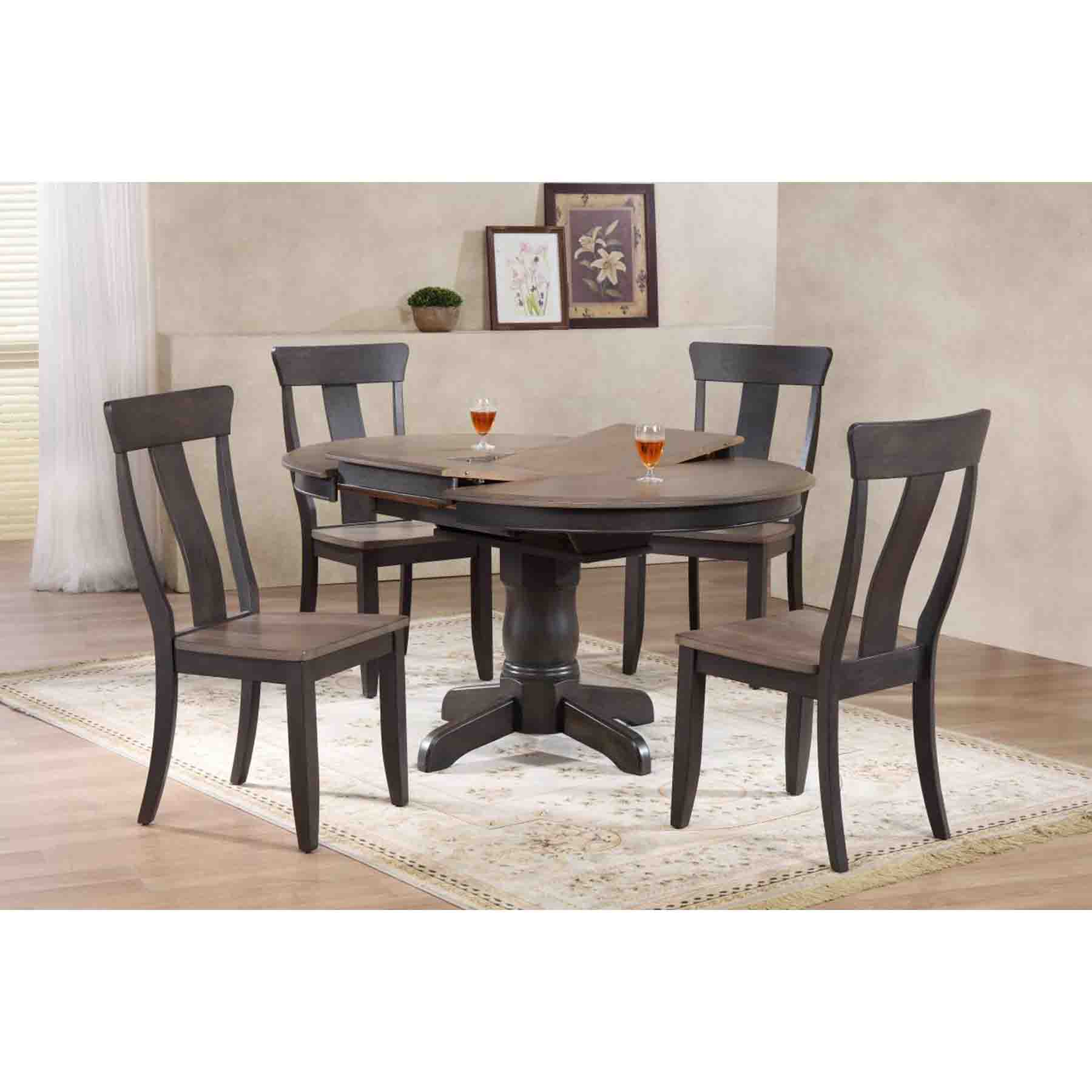 5 Pieces Round Dining Set   Panel Back, Wood Seat, Gray Stone And Black ...
