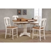 5 Pieces Counter Dining Set - Poleon Back, Wood Seat, Caramel and Biscotti - ICON-RD42-STC53-CL-BI