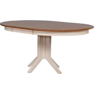 Round Contemporary Dining Table - Caramel and Biscotti