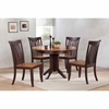 5 Pieces Contemporary Dining Set - Slat Back, Wood Seat, Whiskey and Mocha - ICON-RD45-CON-CH51-WY-MA
