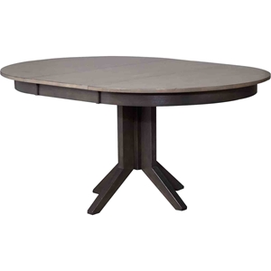 Round Contemporary Dining Table - Gray Stone and Black Stone