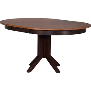 Round Contemporary Dining Table - Whiskey and Mocha