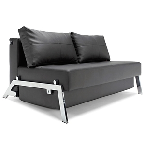 Cubed Deluxe Full Size Sleeper Sofa - Chrome Steel Legs, Black