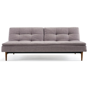 Dublexo Deluxe Tufted Sofa Bed - Walnut Wood, Begum Dark Gray