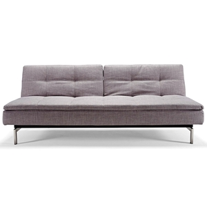 Dublexo Deluxe Tufted Sofa Bed - Steel Legs, Begum Dark Gray