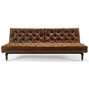 Oldschool Chesterfield Sofa Bed - Black & Brown Leather Look