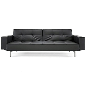 Splitback Deluxe Track Arm Sofa - Convertible, Steel Legs, Black