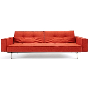 Splitback Deluxe Track Arm Sofa - Convertible, Steel Legs, Orange