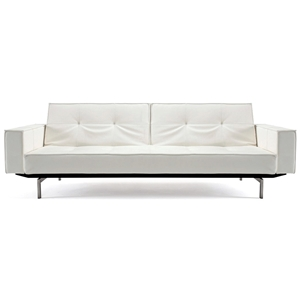 Splitback Deluxe Track Arm Sofa - Convertible, Steel Legs, White