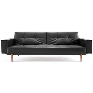 Splitback Deluxe Track Arm Sofa - Convertible, Wood Legs, Black