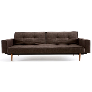 Splitback Deluxe Track Arm Sofa - Convertible, Wood Legs, Brown