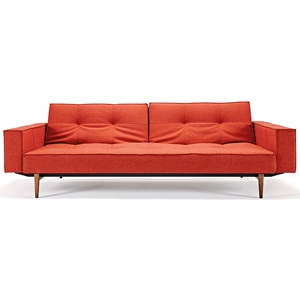 Splitback Deluxe Track Arm Sofa - Convertible, Wood Legs, Orange