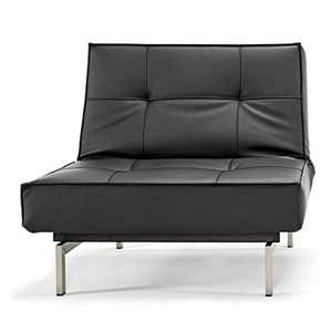 Splitback Deluxe Convertible Chair - Steel Legs, Black Leather Look