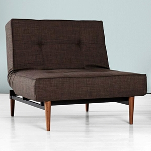 Splitback Deluxe Convertible Chair - Wood Legs, Dark Brown