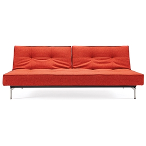 Splitback Deluxe Sofa Bed - Stainless Steel Legs, Burned Orange