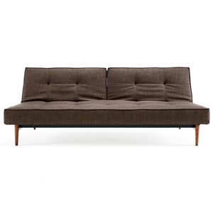 Splitback Deluxe Sofa Bed - Walnut Wood, Begum Dark Brown
