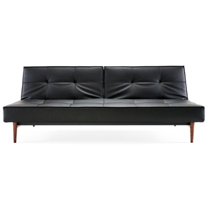 Splitback Deluxe Sofa Bed - Walnut Wood, Black Leather Look