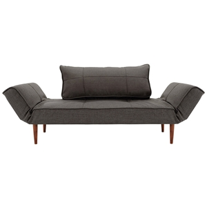 Zeal Deluxe Convertible Sofa - Walnut Wood Legs, Basic Gravel