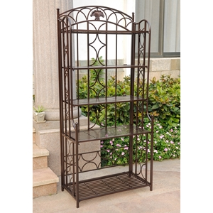 Mandalay Iron 5-Tier Bakers Rack - Matte Brown